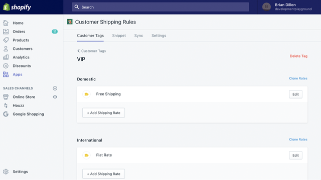 Rates for Customers Tagged VIP