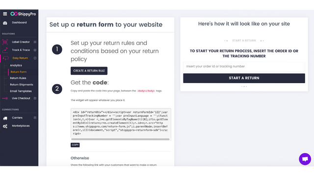 Create your Return Form for your Shopify Returns