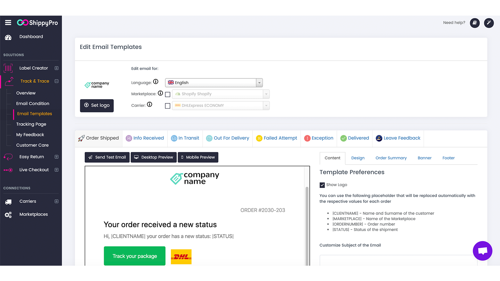 Customize your Tracking Notification Emails with your logo