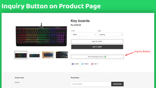 Inquiry button on product page for Product Inquiry on WhatsApp