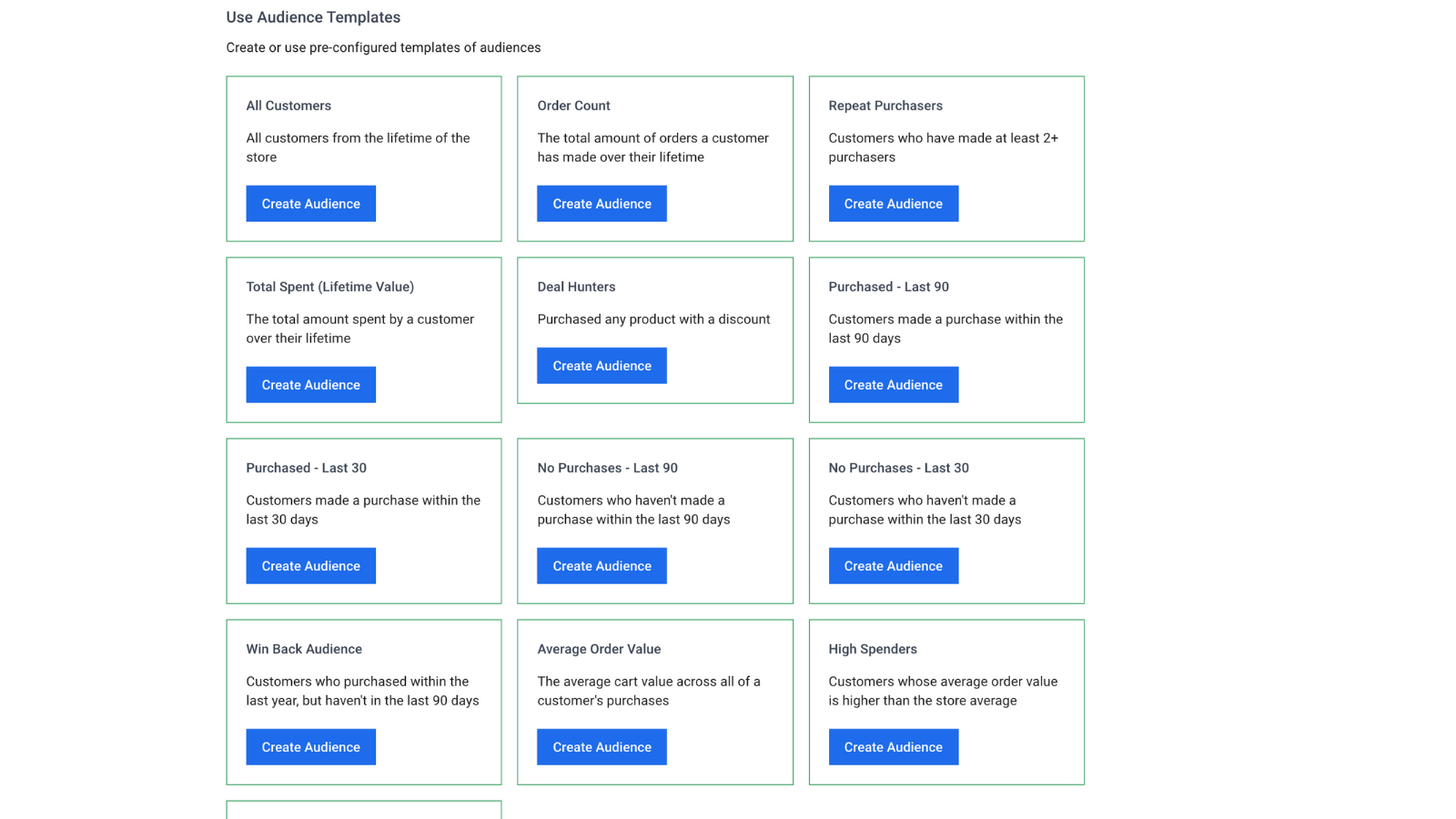 Audience Templates