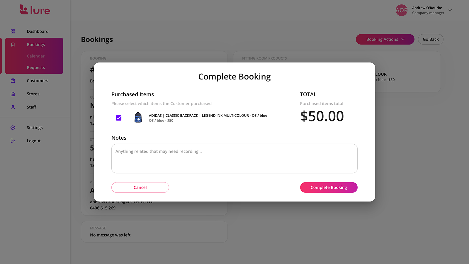 Complete booking's & provide purchase summary