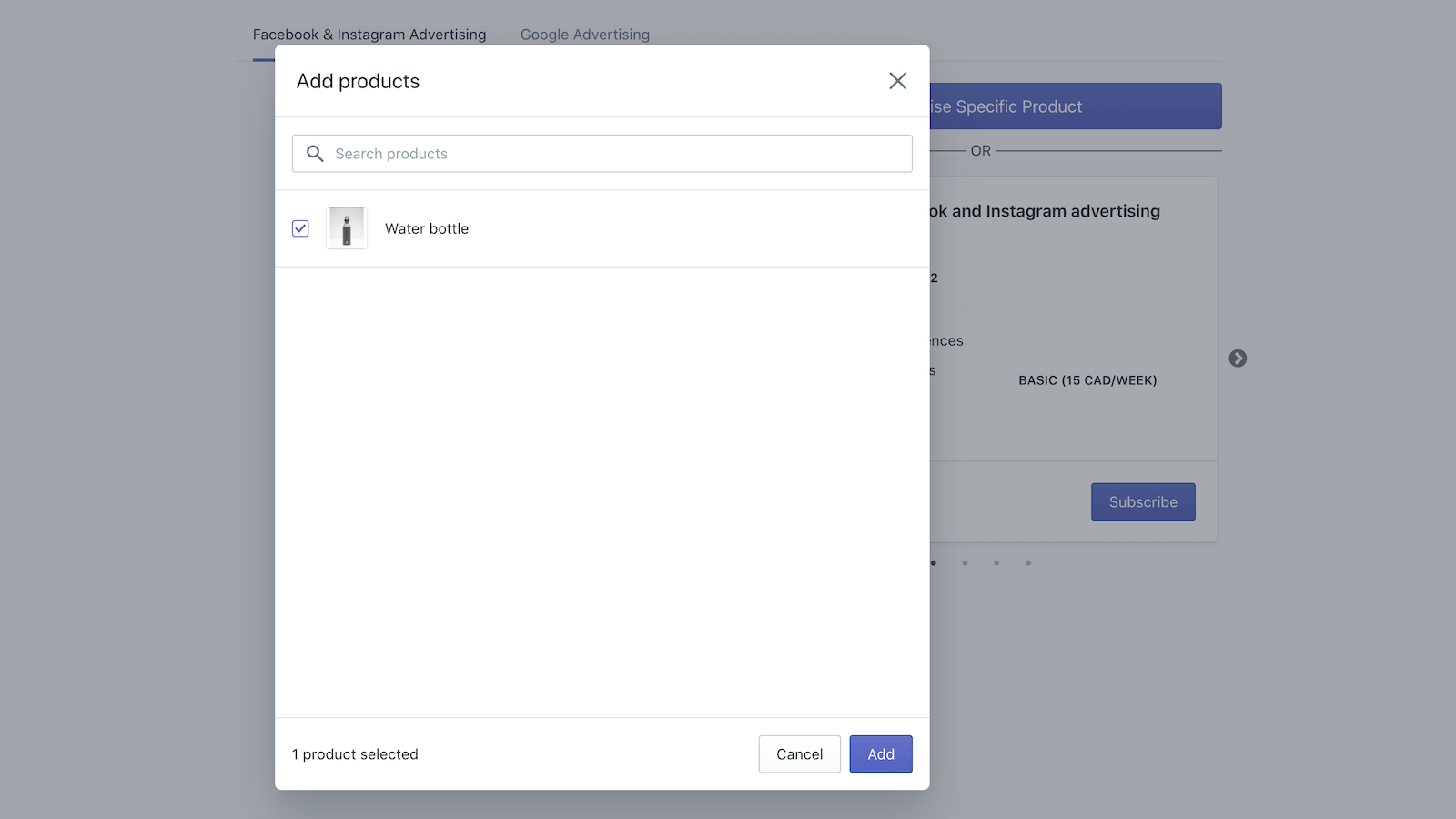 Product Addition Screen