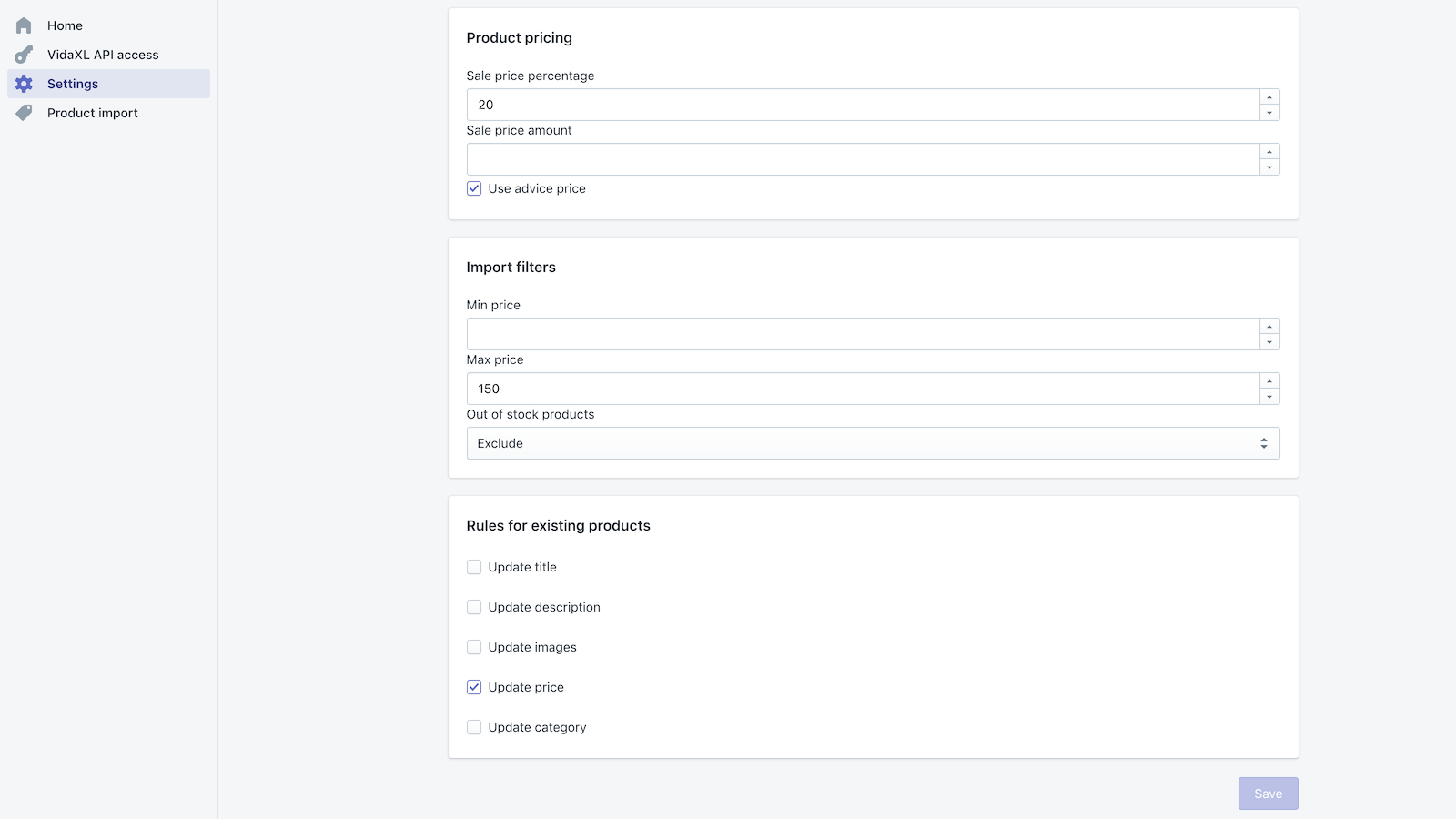 vidaXL settings for importing dropshipping products in Shopify