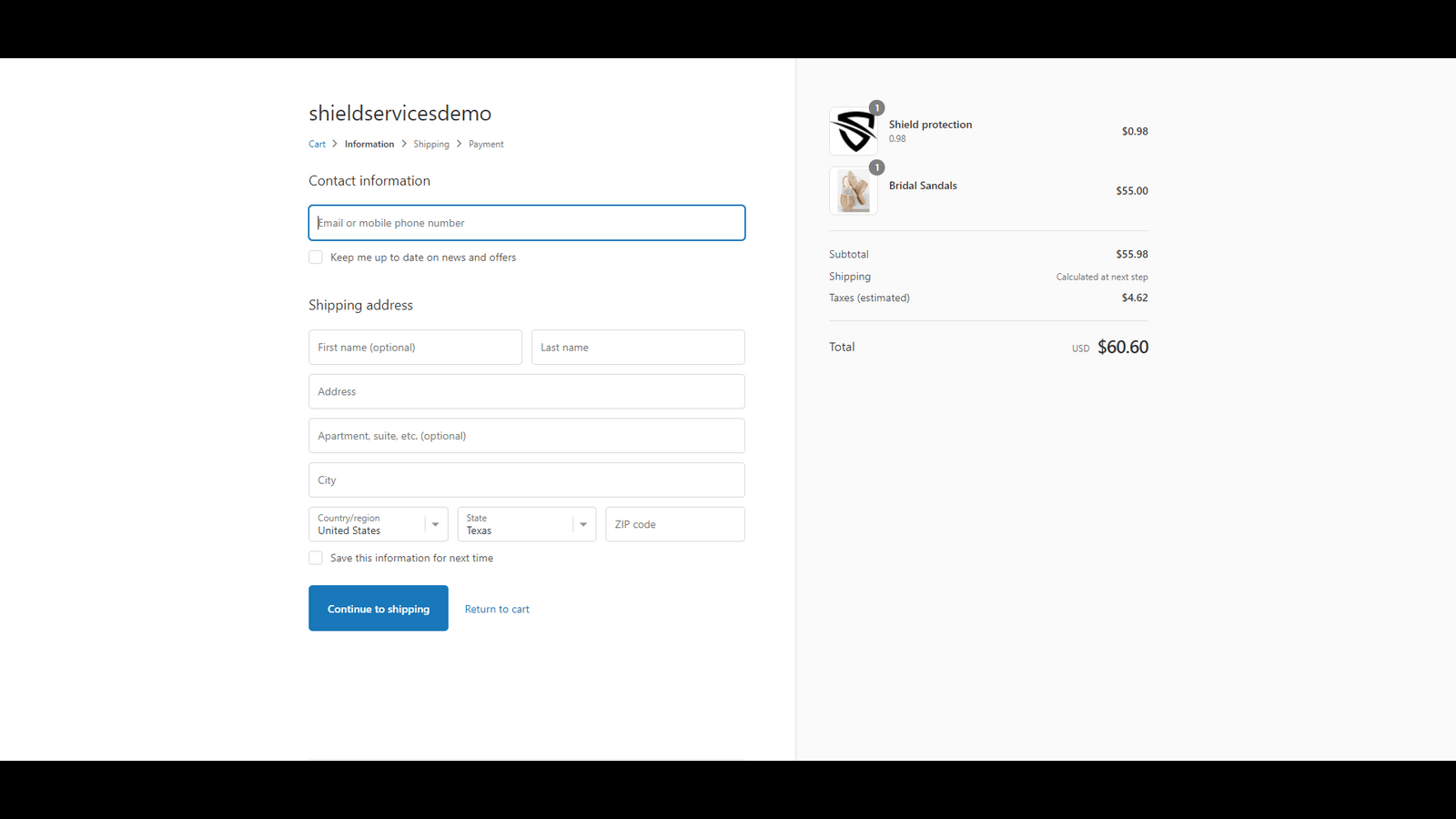 Customer checkout with Delivery Protection fee