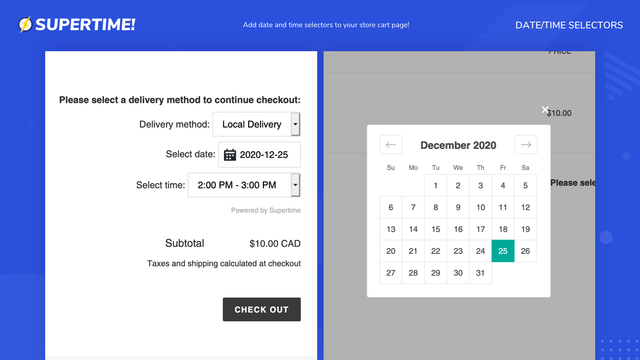 Add date and time selectors to your store cart page!