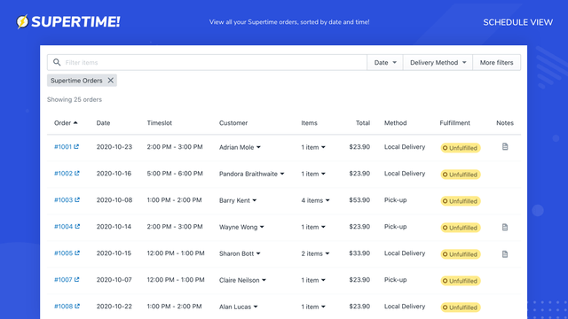 View all your Supertime orders, sorted by date and time!