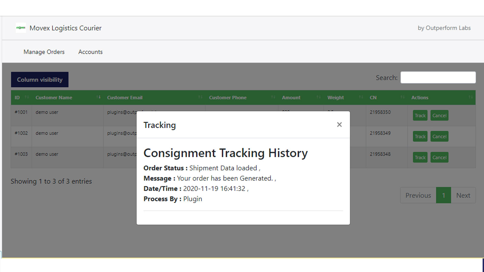 order tracking record