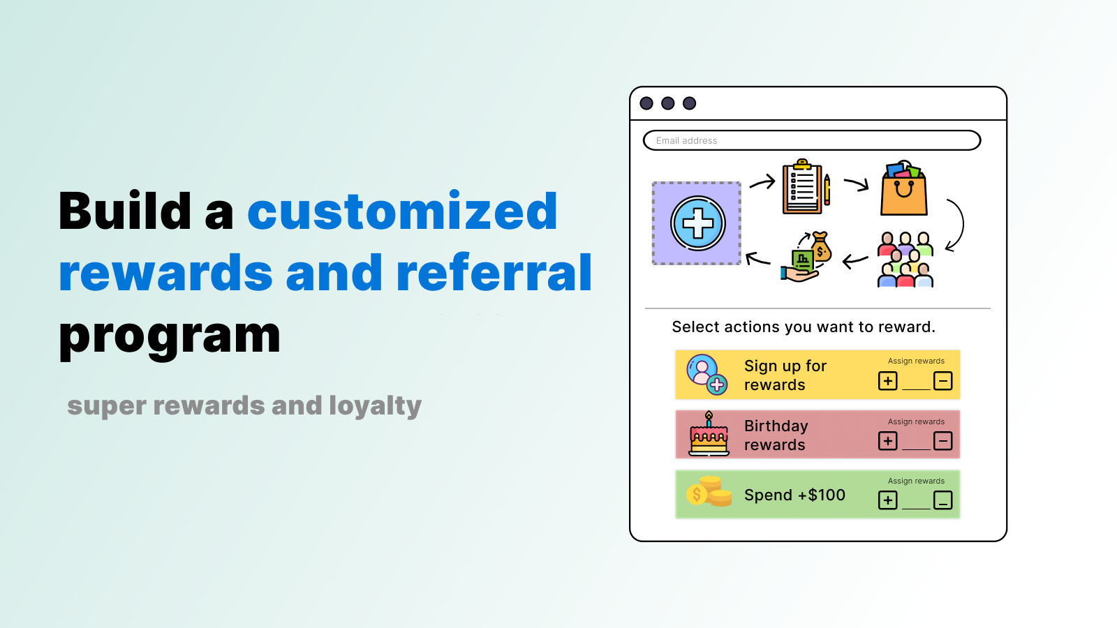 Build a customized rewards and referral program. signup birthday