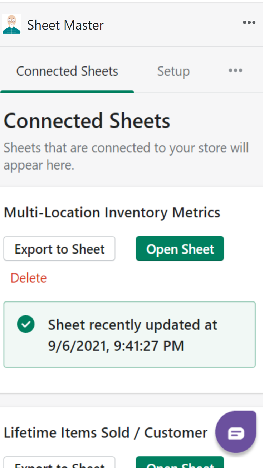 Connected Google Sheets lists