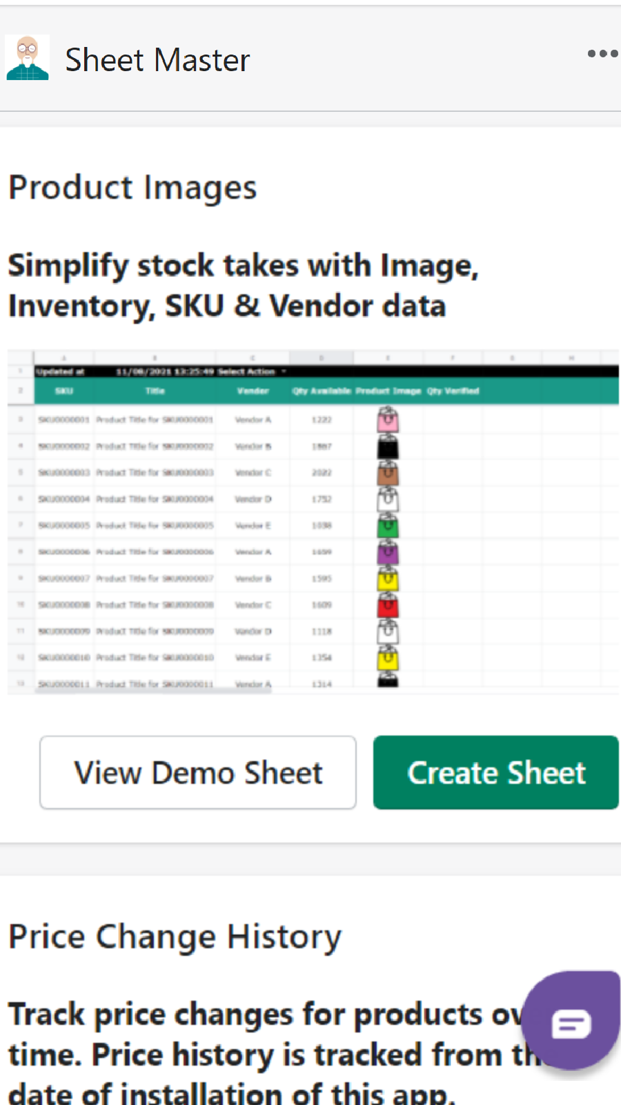 Template listing
