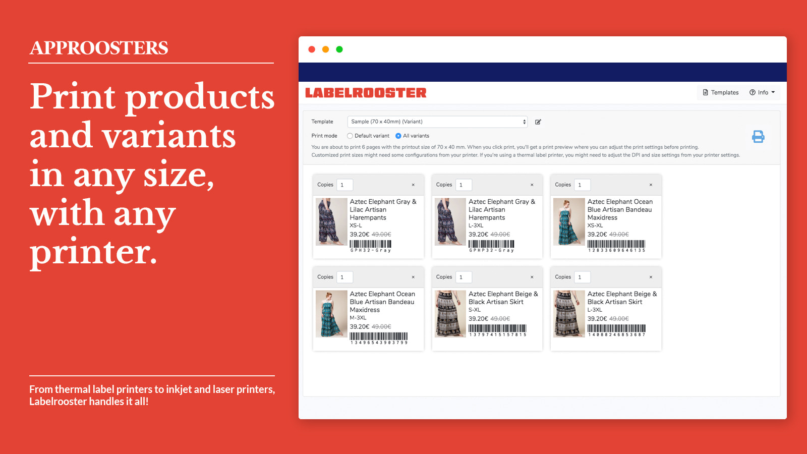 Print product templates with a breeze!