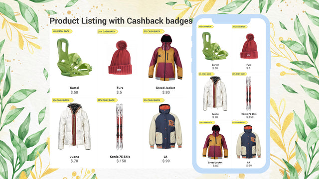 Product Listing with Cashback Badges