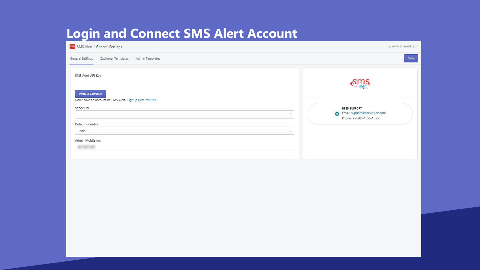 Login and Link to SMS Alert