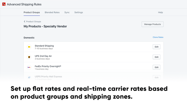 Set up flat rates and real-time carrier rates based on products