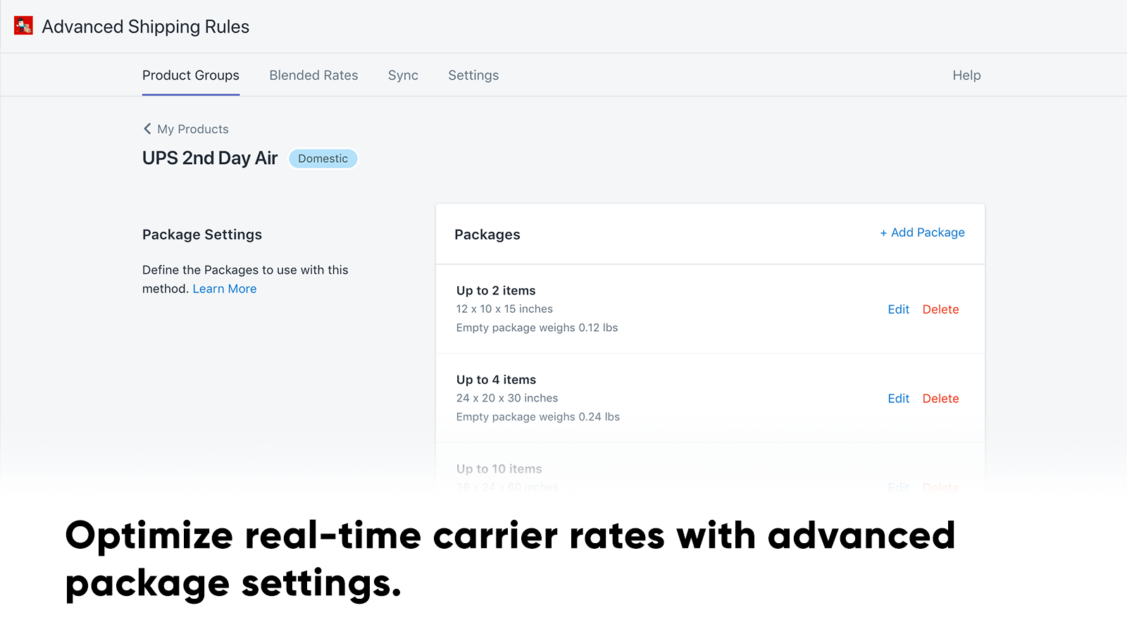 Optimize real-time carrier rates with package settings