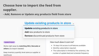 Add/remove and update inventory products