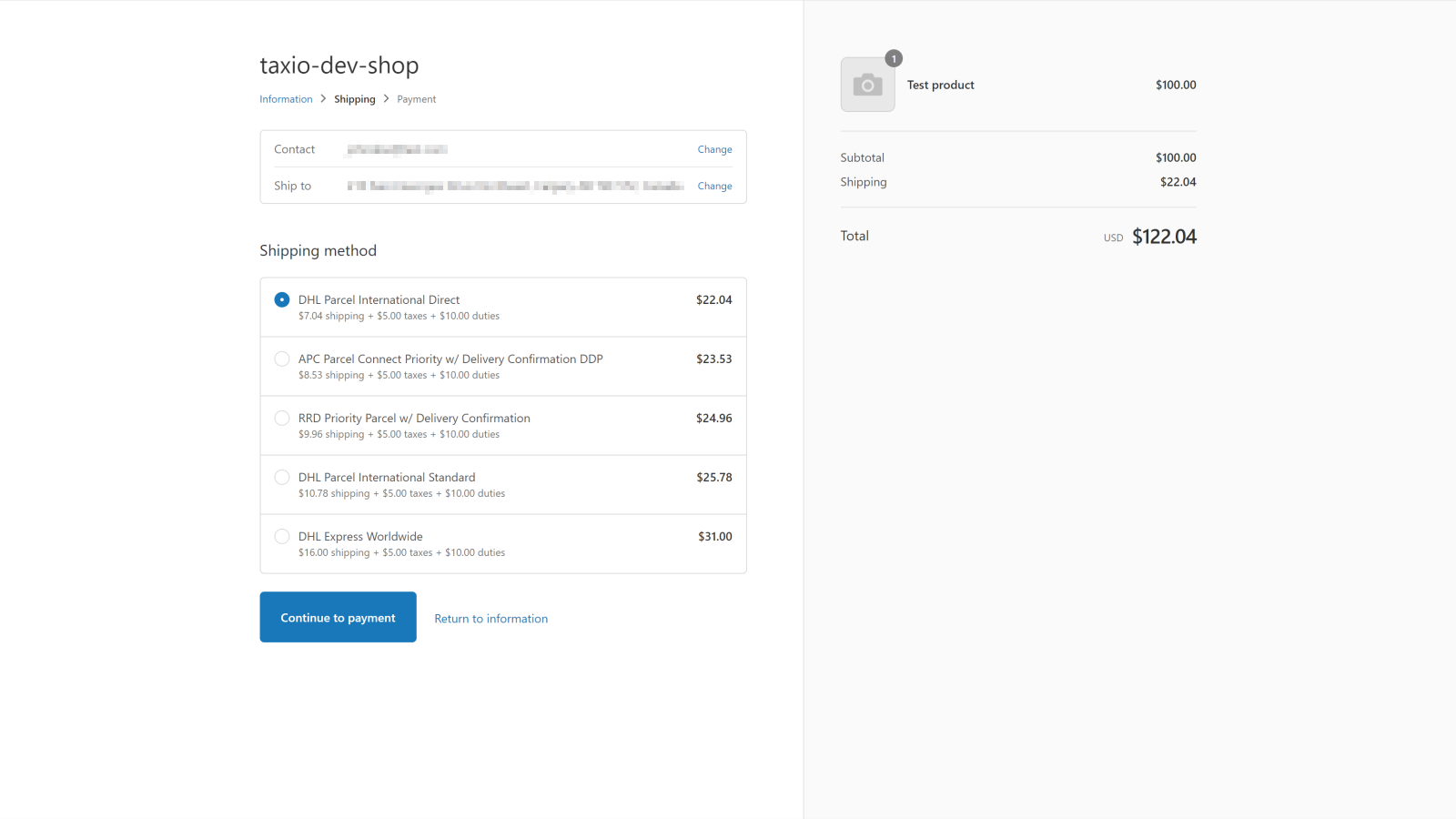 Store checkout shipping options