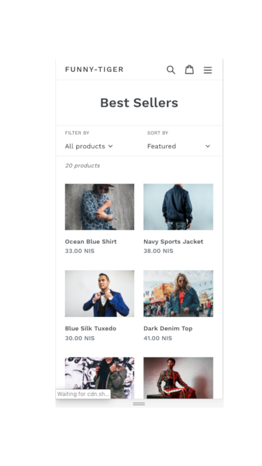 Best Sellers Collection page (mobile)