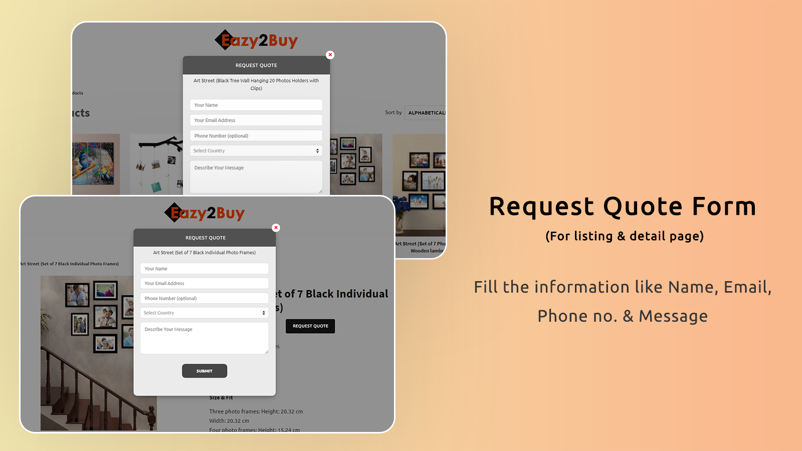Request form for product detail & listing page