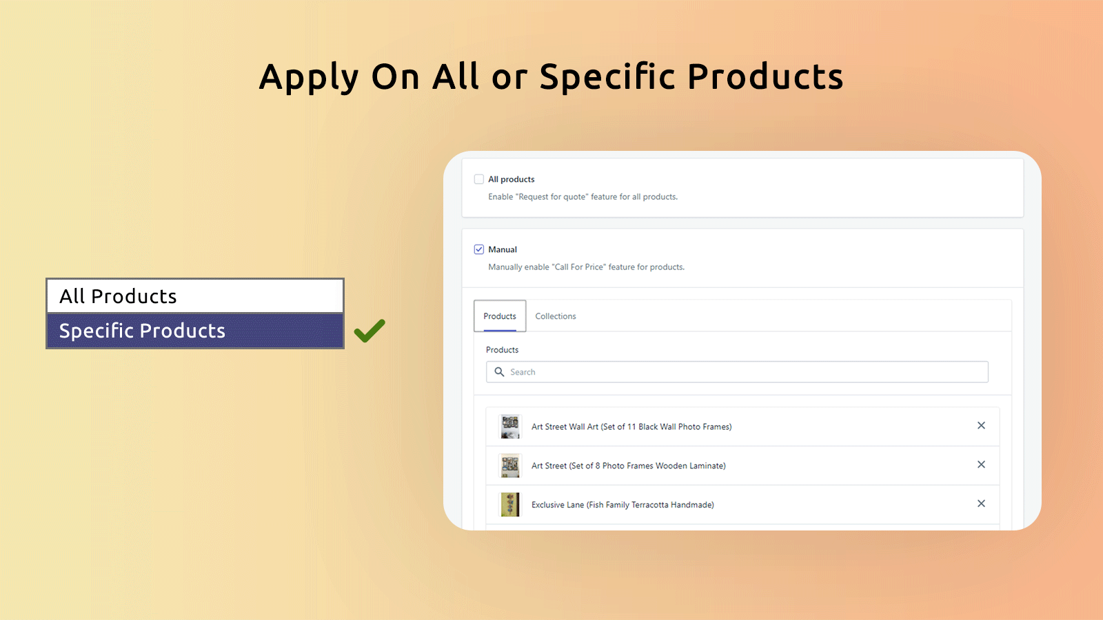 apply on all or specific products