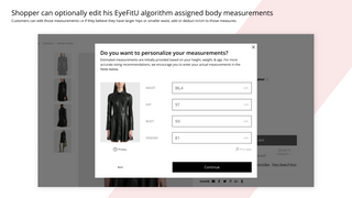 Shopper can optionally edit his EyeFitU body measurements
