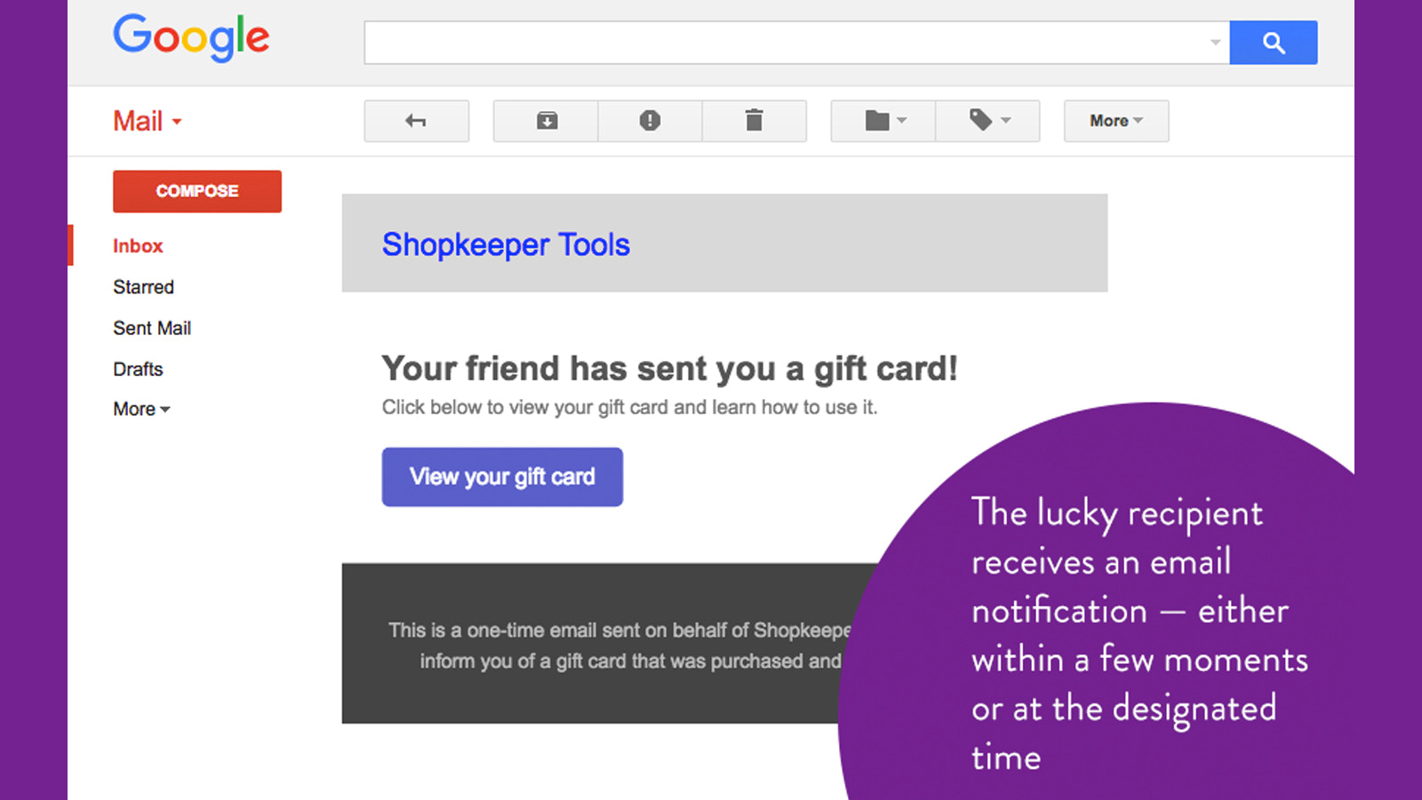Gift recipient received separate email
