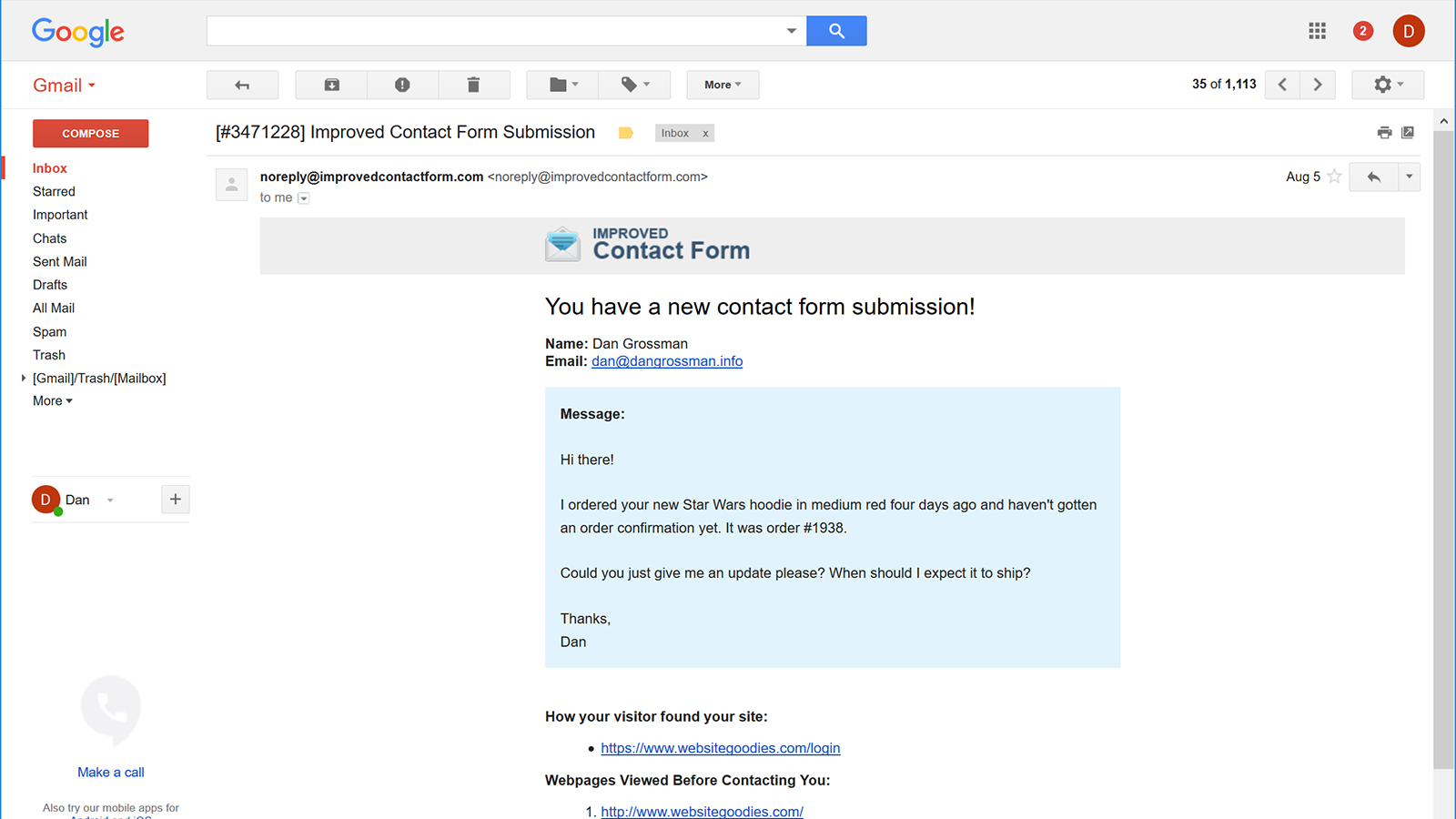 Get Contact Form Submissions In Your Email