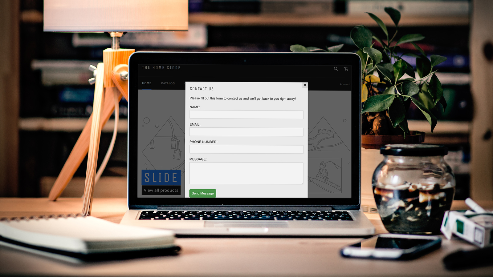 Example Contact Form on Desktop