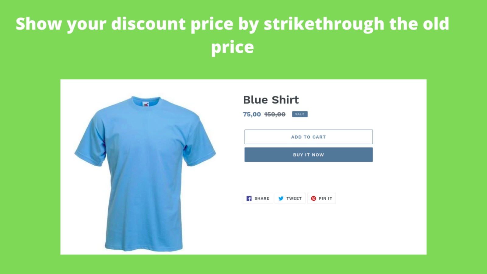 show your discount price by strike-through the old price