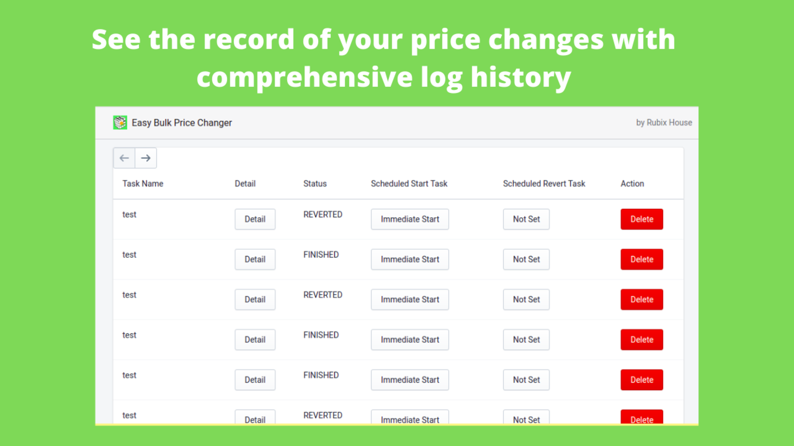 see the record of your price changes with comprehensive log
