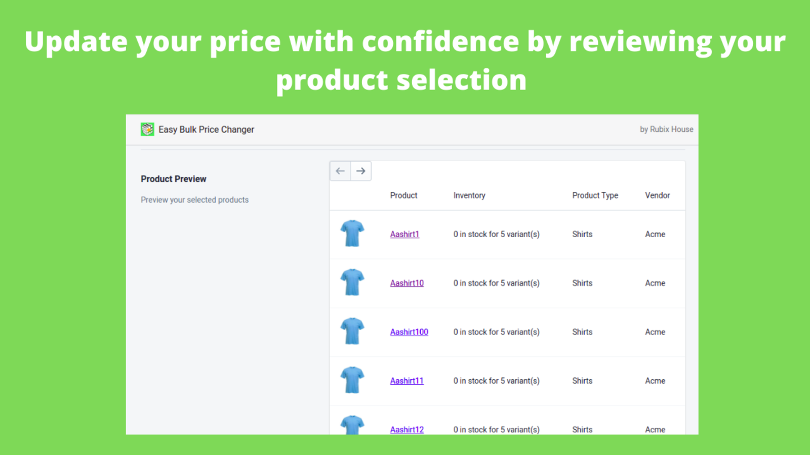 update your price with confidence by reviewing your selection