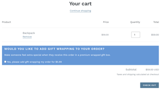 High conversion gift wrapping widget shows on the shopping cart