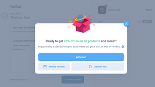 Post-purchase widget on Thank You page for customers