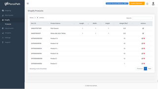 Manage Product dimensions for shipping