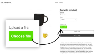 Upload-Field button on product page