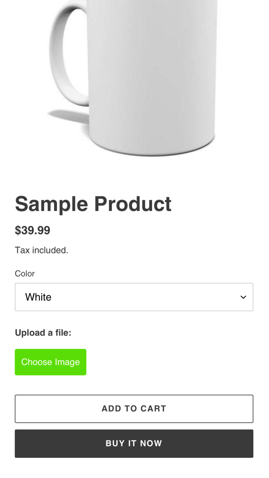 Upload-Field button on product page (mobile)