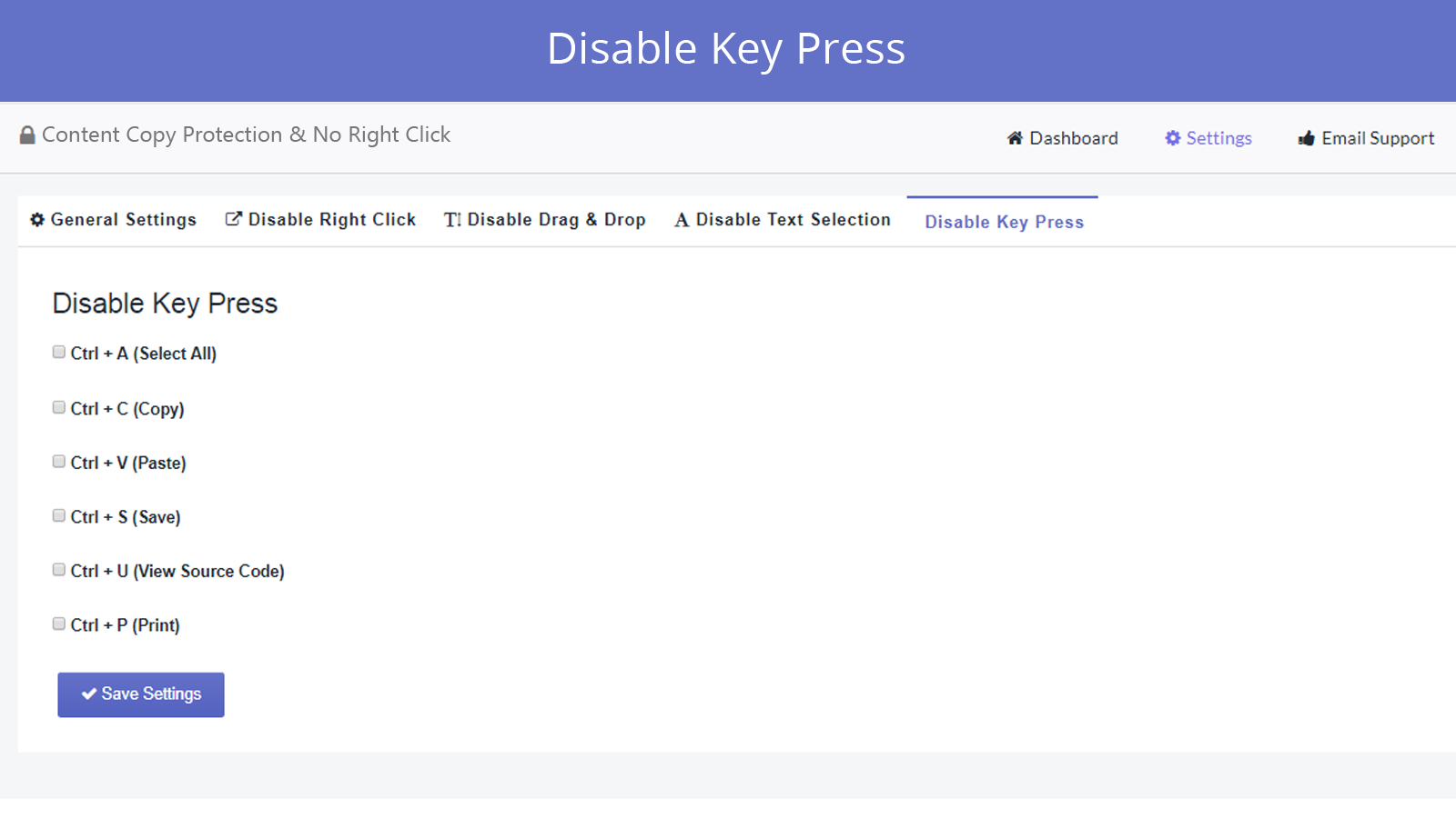 disable key press feature in smart right click disabler app