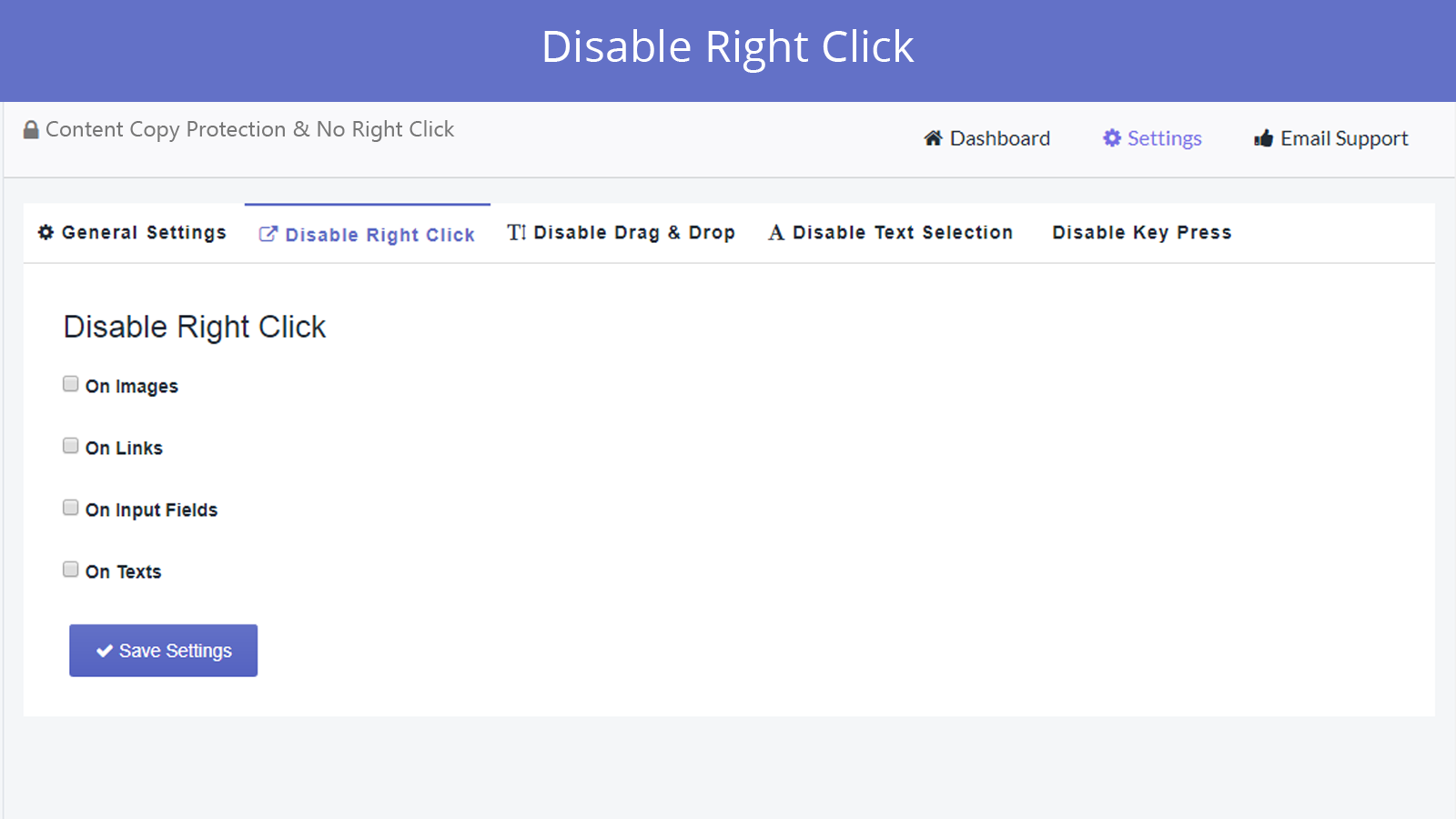 disable right click feature in smart right click disabler app