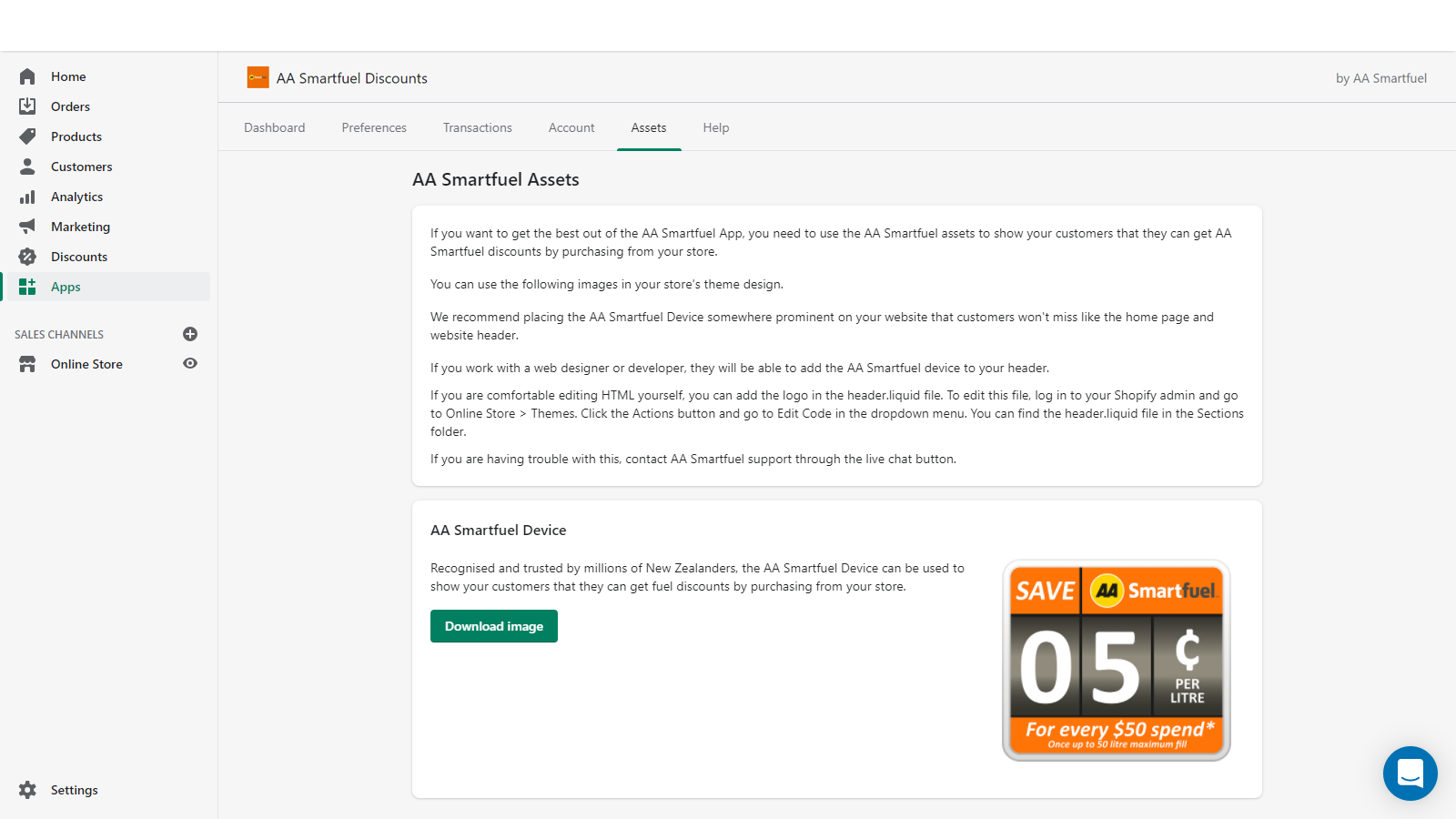 Assets page of AA Smartfuel Shopify app
