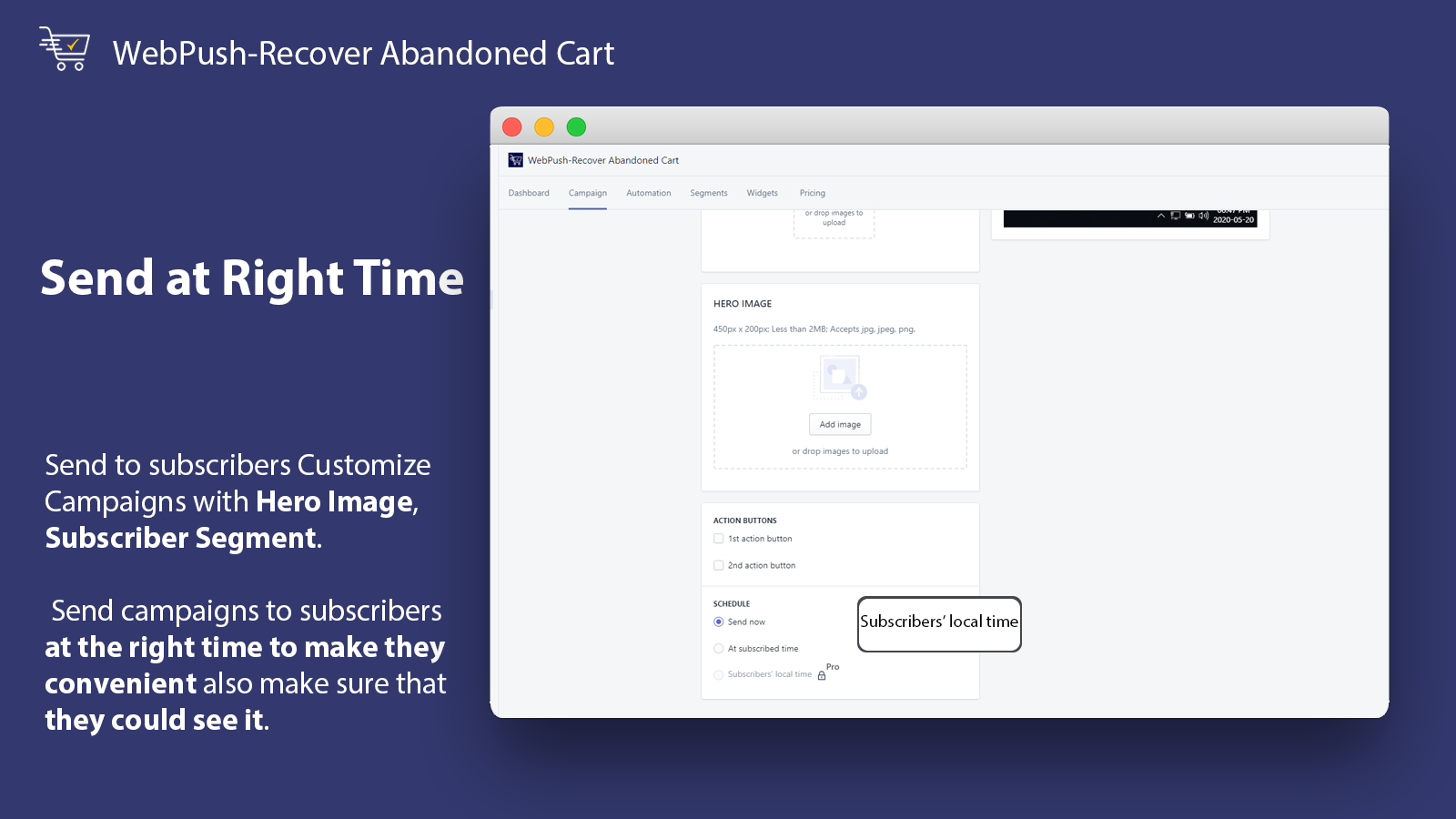 Send at Right Time_WebPush-Recover Abandoned Cart