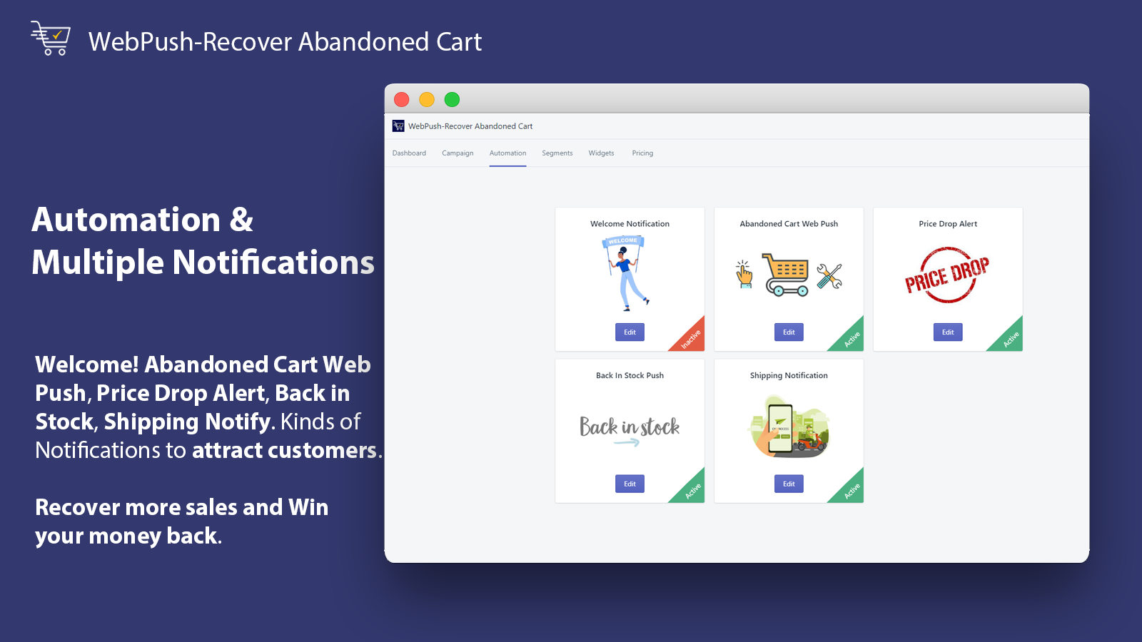 Multiple Notifications_WebPush-Recover Abandoned Cart