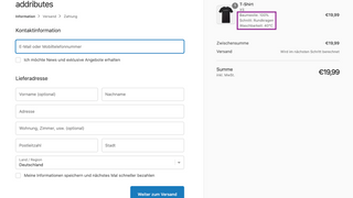 attributes in checkout