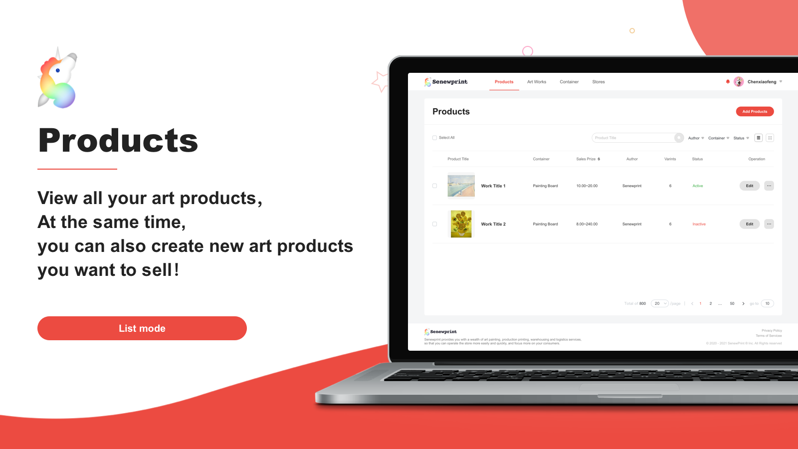 View all your art products