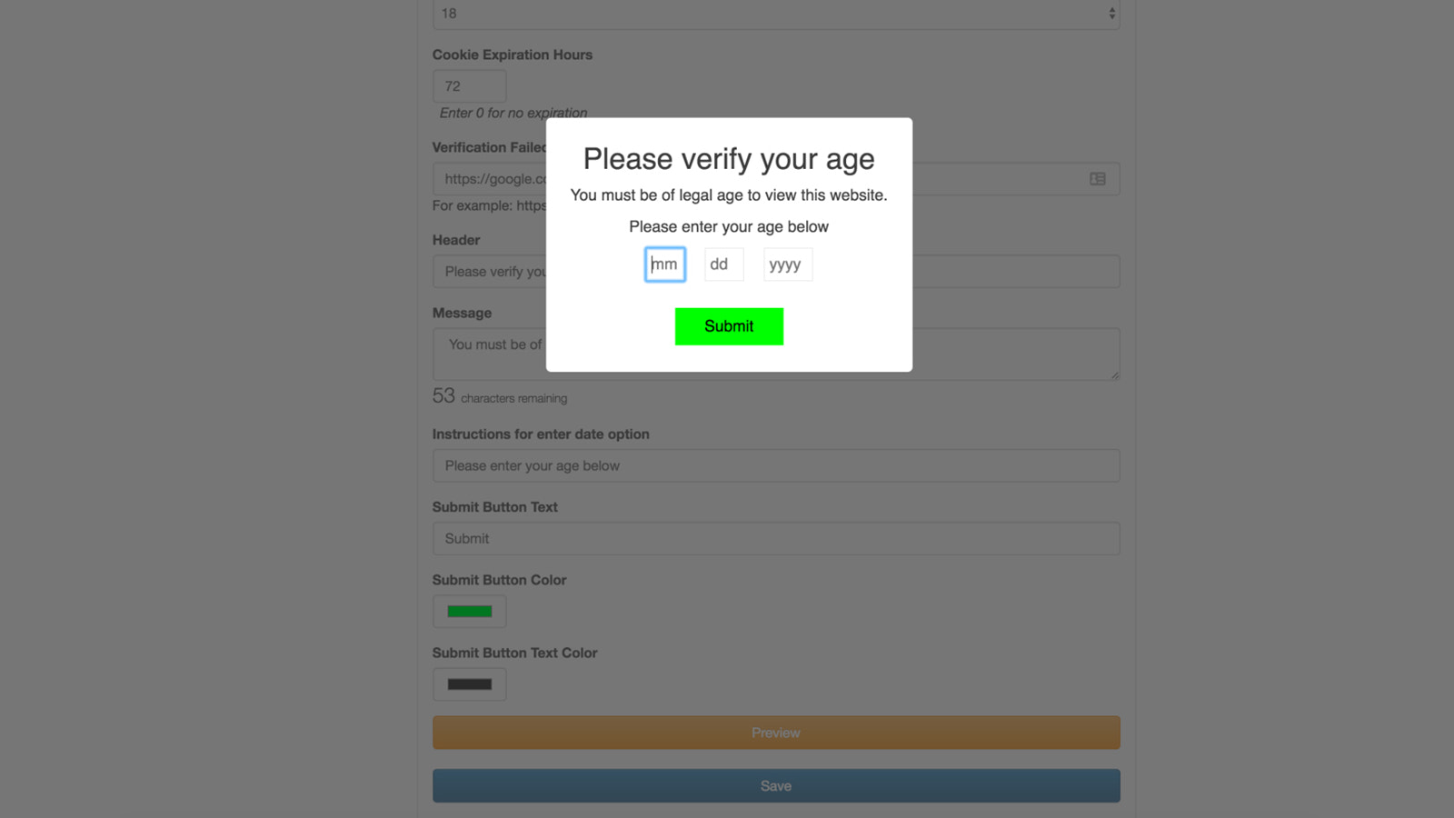 Date of Birth pop up for Shopify
