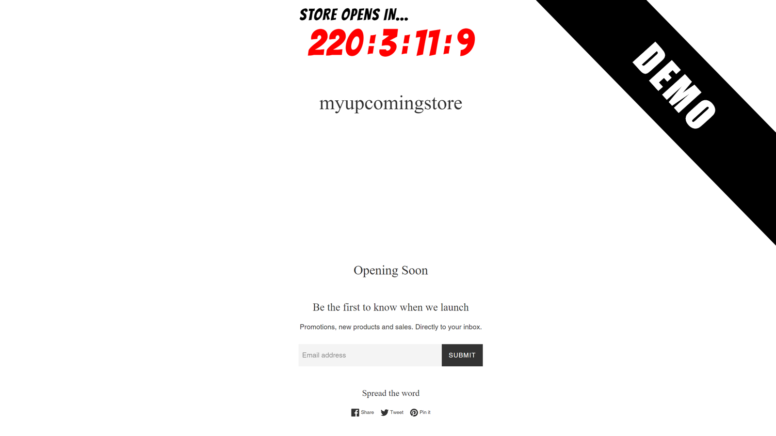Demo on a store page