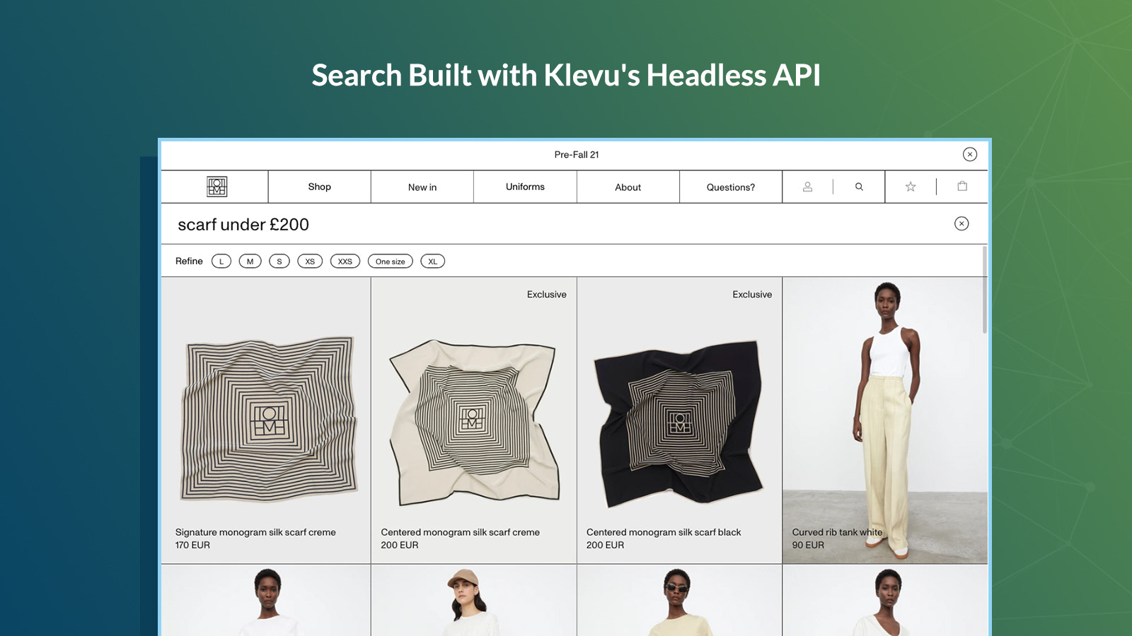 Search built with Headless compatible API