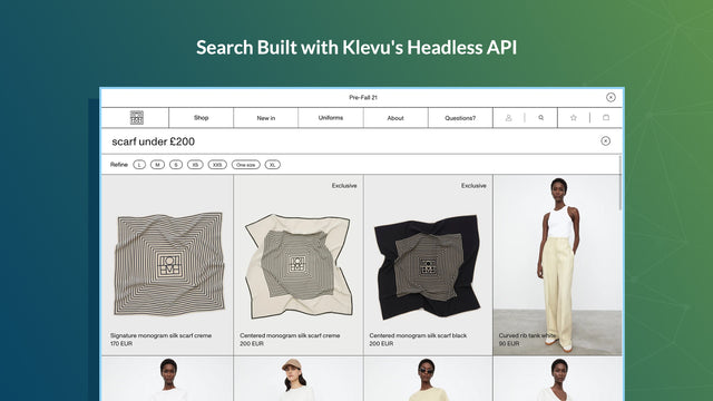 Search built with custom storefronts compatible API