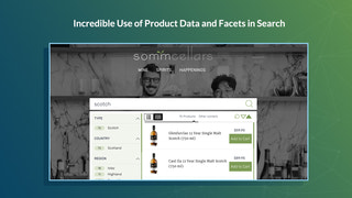 product data and facets powered in advanced search