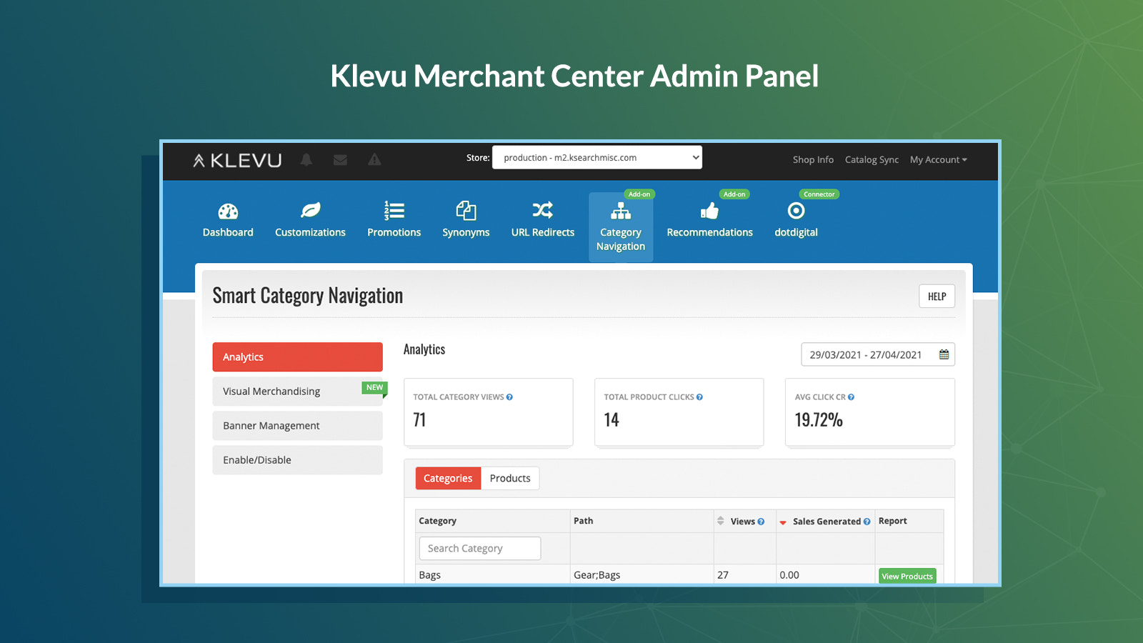 Klevu Admin for search, visual merchandising & recommendations